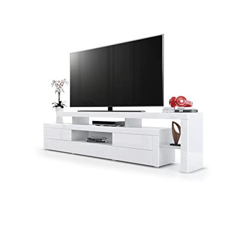 Meuble TV bas Leon, Corps en Blanc haute brillance / Façades en Blanc haute brillance avec une bodure en Blanc haute brillance
