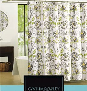 Cynthia Rowley Napoli Scroll Fabric Shower Curtain In Shades Of Grey Yellow Olive