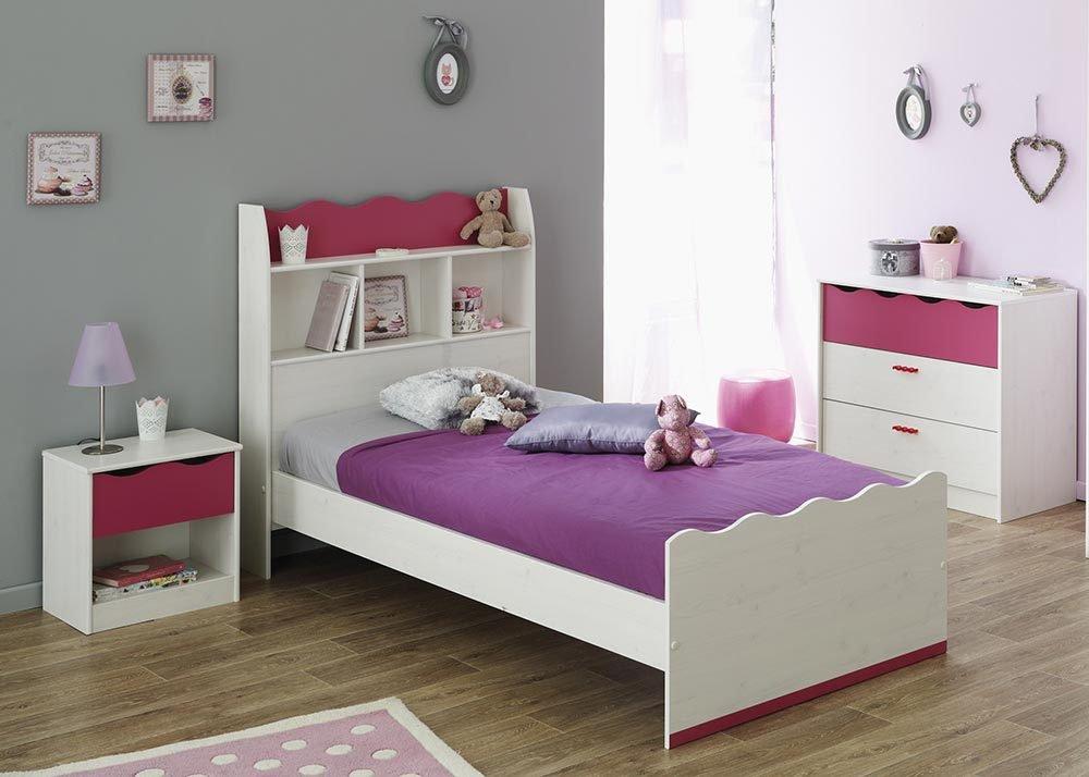 Jumbo-Möbel 3 tlg. Kinderzimmer LILOU in Kiefer Weiß und Pink günstig online kaufen