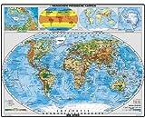 XXL Welt physisch mit Beikarten – DUO: Pinnwand und Magnetwand (pinnbar, magnethaftend), matt antireflexierend laminiert (beschreib- und abwaschbar), im Alurahmen gerahmt