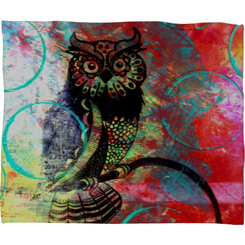 Deny Designs Sophia Buddenhagen Color Owl Fleece Throw Blanket, 60-Inch By 50-Inch