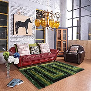 Ustide high pile green and black living room for Living room rugs amazon