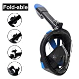 Aidong 180° Full Face Snorkel Mask with Panoramic View Anti-Fog Design, Foldable Storage Snorkel Set With GoPro Mount, Swimming Set for Adults & Kids (180° Panoramic Fold Black, Small/Medium)