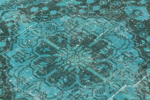 4.8 X 12.7 Feet Aqua Green Color Vintage Overdyed Handmade Turkish Runner Rug