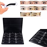 Tattoo Eyebrow Mold, AMA(TM) 1 Box Tattoo Eyebrow Mould Microblading Training Permanent Eyebrow Shaping Stencil Tool (Black) (Color: Black)