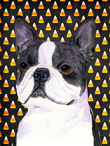 Boston Terrier Candy Corn Halloween Portrait Flag Garden Size From Caroline'S Treasures front-96379