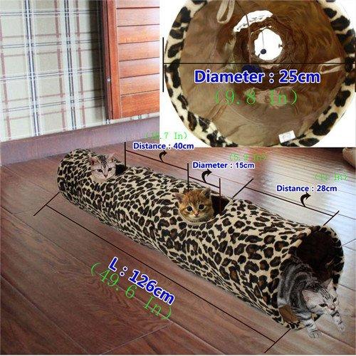 Cat Tunnel Leopard Print Crinkly Cat Fun 2 Holes Long Tunnel Kitten Toys