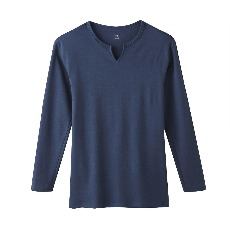 9a5e6004e1bd1 GUNZEYG♪COTTON100% ダブルホット キーネック9分袖シャツ