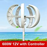 XYOUNG Wind Turbine,600W 12V Electromagnetic Wind Turbine Generator White Lantern Vertical Axis Controller Garden Boat Wind Generator 5 5-Blade Leaves Wind Turbine Kit US Stock