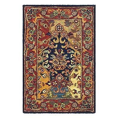 Safavieh Heritage Collection Handmade Multi and Burgundy Wool Area Rug