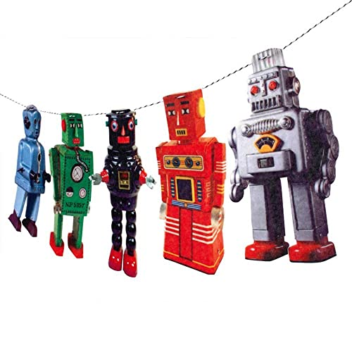 Handmade Vintage Tin Robots Garland - photo reproductions on felt
