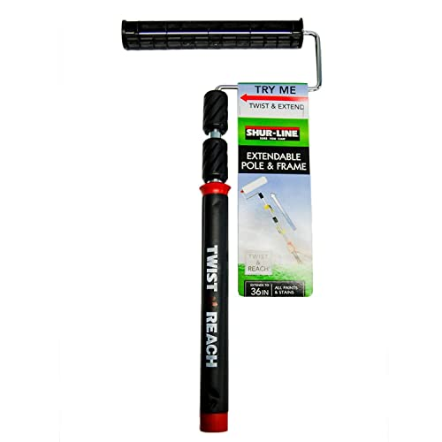 Shur-Line 6630C Premium Twist 'N Reach Premium Extension Pole w/ 9-Inch Best Paint Roller Frame, Extends up to 3 Feet, Cushioned Comfort Handle