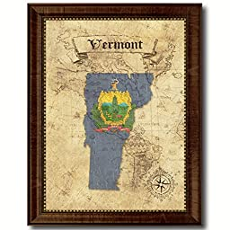 Vermont State Vintage Map Flag Art Custom Picture Frame Office Wall Home Decor Cottage Shabby Chic Gift Ideas
