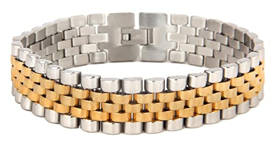 The jewelbox 316L surgical stainless steel 22K gold rhodium mens bracelet at amazon