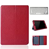 KVAGO Premium Genuine Leather Smart Flip Case with Universal Detachable Wireless Bluetooth Keyboard for Apple iPad mini 2 ( retina display) - Real Leather Stand Folio Protective Cover with Card Slots Holder Auto Sleep/Wake Function - Red