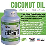 #1 Organic Extra Virgin Coconut Oil Capsules (Fast Energy* Helps Maintain Healthy Cholesterol Levels* and Burn Fat*) Raw Unrefined Cold Pressed Extract 100 Percent Pure Coconut Oil Pills 1000 Mg Softgels Diet Supplement to Maximize Performance, Healthy Heart, Body, Skin, Hair & Weight Loss - Fully Guaranteed
