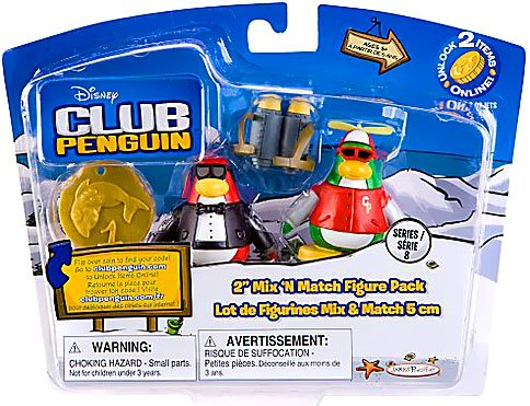 Buy Low Price Jakks Pacific Disney Club Penguin Series 8 Mix N Match Mini Figure Pack Secret Agent Rookie Includes Coin with Code! (B003UNS50G)