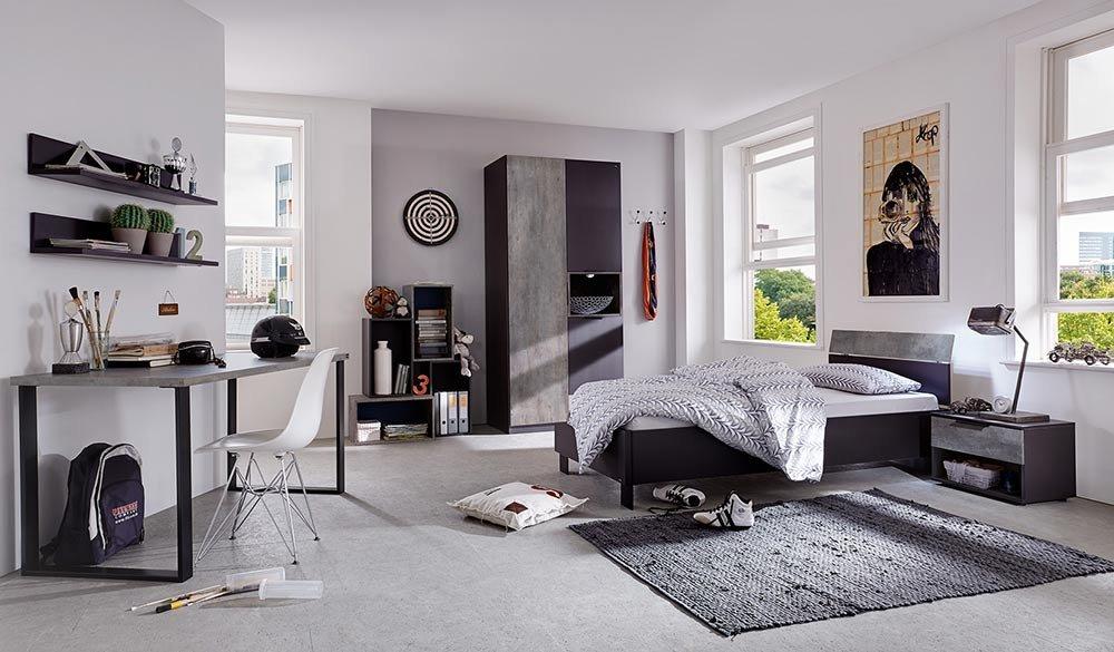 3-tlg. Jugendzimmer in Lavagrau mit betonfarbenen Abs., Kleiderschrank Breite: 100 cm, Bett mit Kopfteil 90×200 cm, Nachtschrank Breite: 49 cm