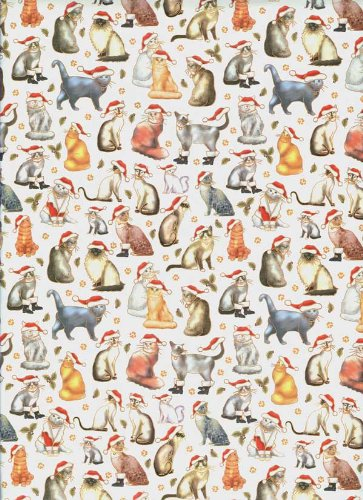 Santa Cats Rolled Christmas Gift Wrap Paper