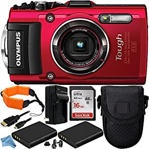 Olympus Stylus TOUGH TG-4 Digital Camera (Red) 10PC Accessory Kit. Includes SanDisk Ultra 16GB Memory Card (SDSDUN-0016G-G46) + 2 Replacement Li-90 Batteries + AC/DC Rapid Home & Travel Charger + MORE