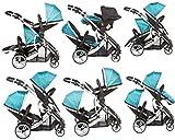 Poussette double tandem, Duellette 21 BS de kidz Kargo. Ensemble poussette 4 roues + 2 sièges auto à partir de la naissance + 2 habillages pluie. A partir de la naissance. Assises et sièges auto peuvent être positionnés face à la route ou face aux parents.
