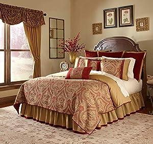 Veratex Bedroom Decorative Cordovan Comforter Set D.King Wine