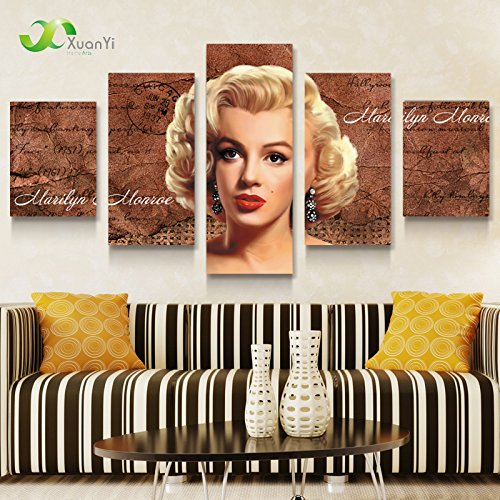 5 Panel Modern Printed Marilyn Monroe Oil Canvas Painting Picture Wall Art Home Decor For Bed Room Living Room Framed With Inner Wood Frame Ready To Hang Directly EMS(6-8 Working Day) XY-J008