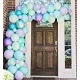 100 Pack Mermaild Party Balloon Garland Arch Kit-100pcs Latex Balloons, 16 Feets Arch Balloon Strip Tape, Balloon Tying Tool for Frozen Party Under The Sea Party Birthday Baby Shower Decorations (Color: Purple,levender,teal,plush Pink)