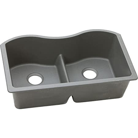 "Elkay ELGULB3322GS0 Granite 33"" x 20"" x 9.5"" Double Bowl Undermount Kitchen Sink, Greystone"