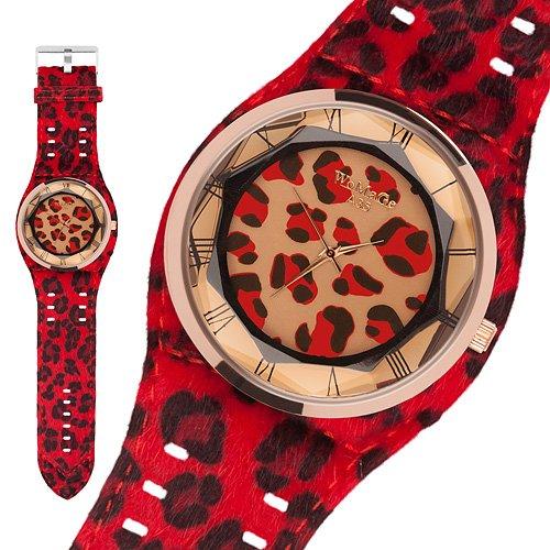 Taffstyle® Modern Frauenuhr Damen Armbanduhr Leoparden Style Damenuhr Fashion Damenarmbanduhr Analog Uhr mit Kunstleder Armband und Fell Leo Muster - Rot