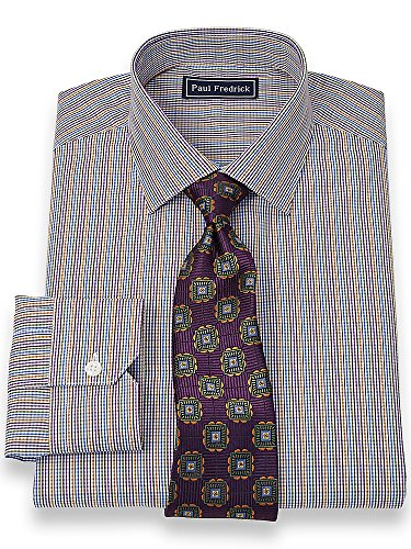 Paul fredrick men s 2 ply cotton jermyn street collar trim for 2 ply cotton dress shirt