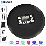 HONGYU Portable Bluetooth CD Player with LCD Display/Headphone Jack Anti-Skip Protection Anti-Shock Personal Compact Disc Player for Kids Adults Students Personal Music CD Players (Black) (Color: CD611T CD Player-Black)