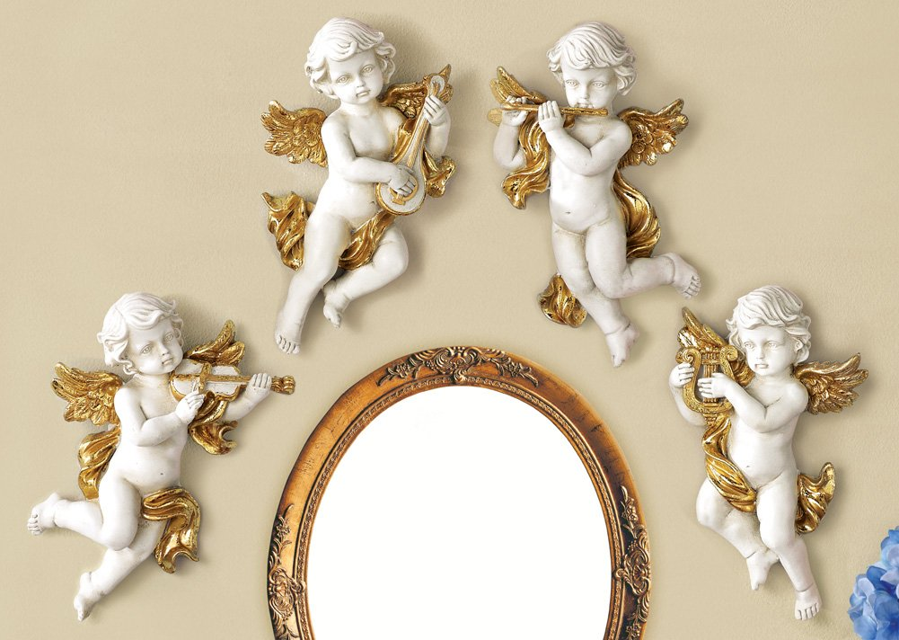 Set Of 4 Angelic Cherubs Wall Decor