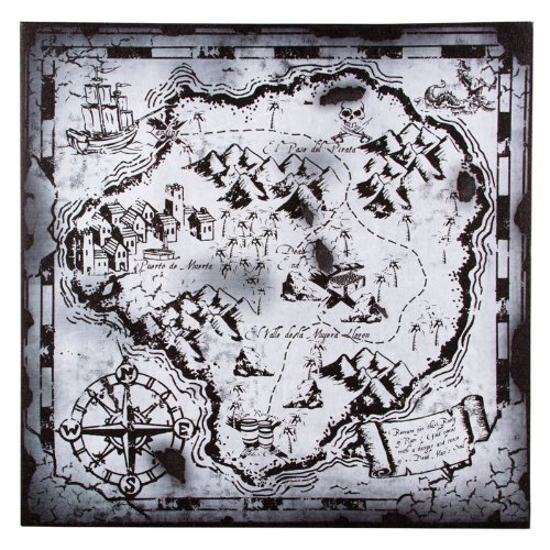 Black and White Pirate Treasure Hunter's Map 18 Inch Canvas Wall Decor
