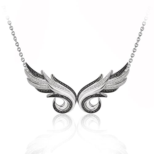 925-Sterling-Silver-Double-Angel-Feather-White-and-Black-Diamond-Pendant-Necklace-GH-I1-I2-0-36-carat-