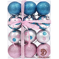 "Sea Team 60mm/2.36"" Decorative Shatterproof Painting & Glitering Designs Christmas Tree Ornaments Christmas Balls Set in Harmonious Contrast Color, 24-Pack, Pink&Blue"