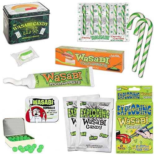 The Ultimate Wasabi Lover's Gift Set - Wasabi Candy, Exploding Candy, Gumballs, Toothpaste & Candy Canes (Meat Flavored Candy compare prices)