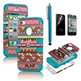 Pandamimi ULAK(TM) Hybrid High Impact Case Tribal Pink / Blue Silicone for iPhone 4 4S +Screen Protector +Stylus