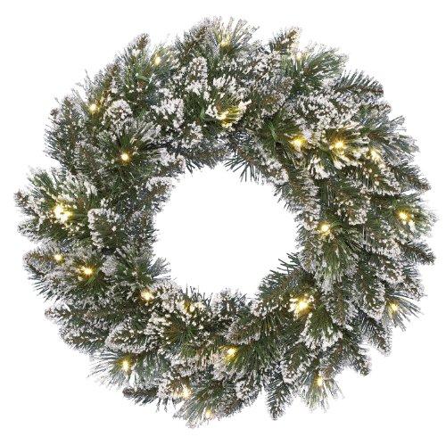 Kaemingk 671567 Kranz, Finley Pine Frost, Soft Nadel PVC, innen, Innentrafo, 24 warmweiße LED, Durchmesser 50 cm thumbnail