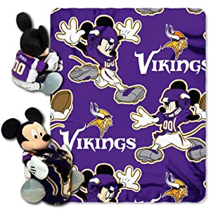 NFL Minnesota Vikings Mickey Mouse Pillow with Fleece Throw Blanket Set by Northwest