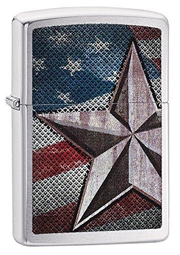 zippo-american-flag-star-pocket-lighter-brushed-chrome