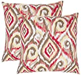 Safavieh Pillow Collection Ikat Swirls 18-Inch Decorative Pillows, Brown and White, Set of 2