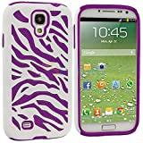 myLife Case for Samsung Galaxy S4 - White and Purple Zebra Stripe by myLife Brand Products
