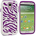 myLife Case for Samsung Galaxy S4 - White and Purple Zebra Stripe