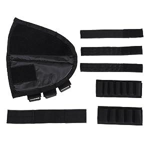 OneTigris Tactical Buttstock Shotgun Rifle Shell Holder Cheek Rest Pouch (Black) (Color: Black)