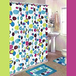 MULTI-COLORED CIRCLES 15-Piece Bathroom Set: 2-Rugs/Mats, 1-Fabric Shower Curtain, 12-Fabric Covered Rings.