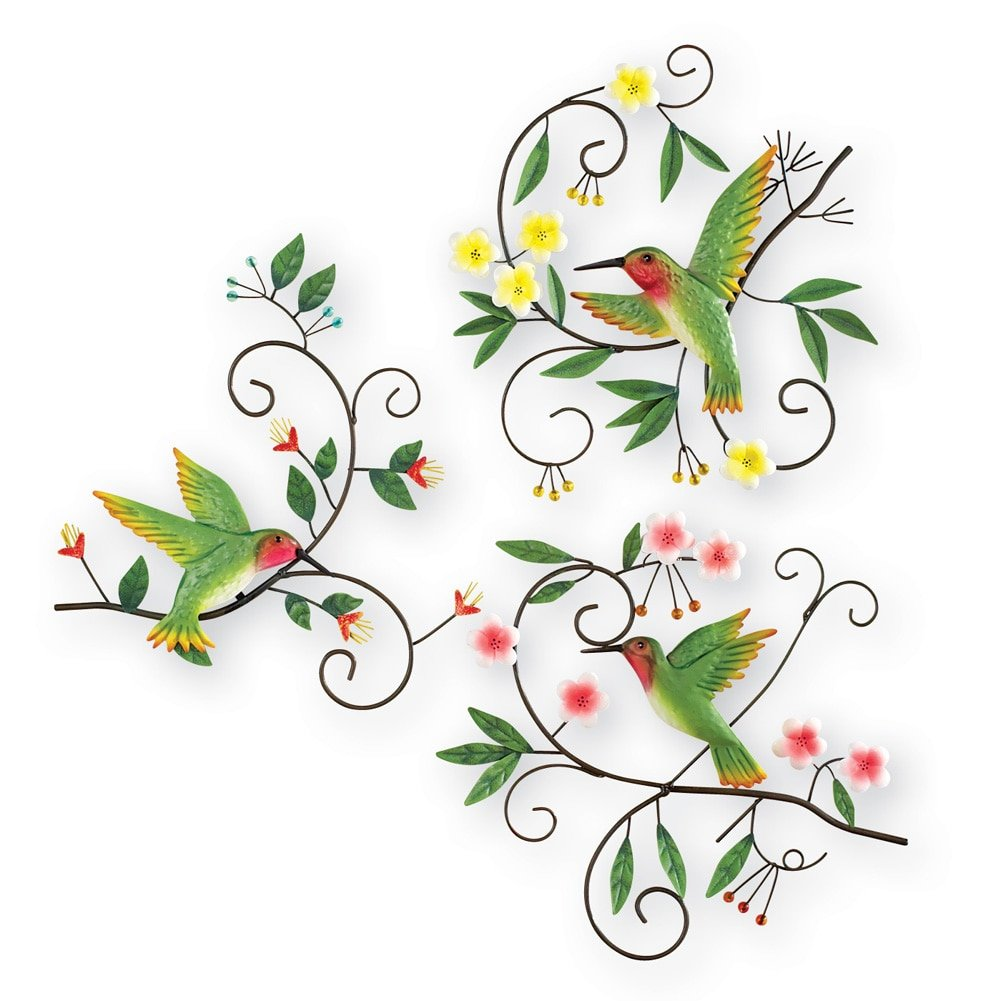 Hummingbird Scrolling Vines Wall Art - Set Of 3, Green