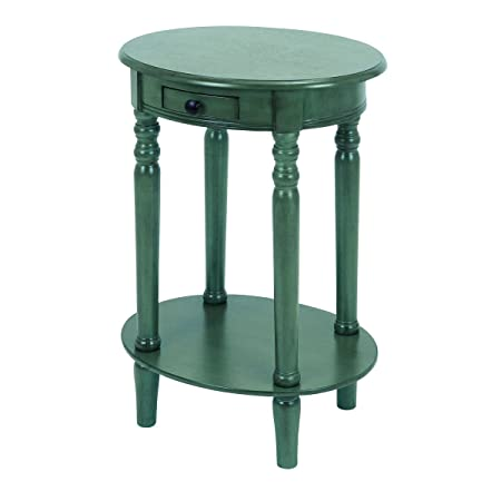 Urban Designs Wooden Oval Nightstand with Drawer - Teal