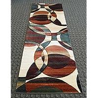 Modern Runner Rug 32 Inch X 7 Feet Design 583 Multi