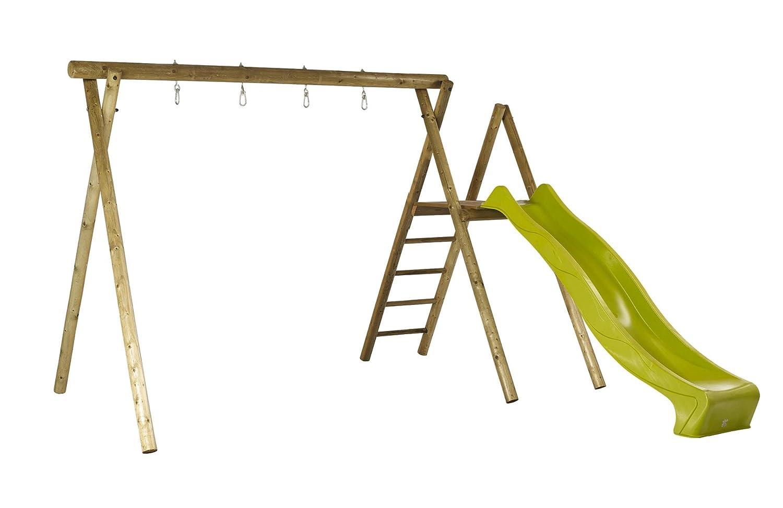 Woodinis-Spielplatz 18516-5-3 – Doppelschaukel Holz mit Schaukel Podest, Imprägniert inklusive Rutsche, grün kaufen